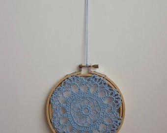 FLOWER BURST - Blue Crochet Doily Embroidery Hoop - Blue Crochet Suncatcher - Doily Embroidery Hoop - Crochet Decor - Crochet Suncatcher