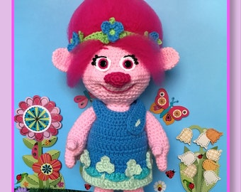 Poppy Troll Amigurumi (PDF pattern only, this is not the finished doll)