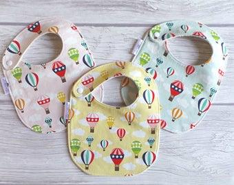Hot Air Balloon Baby Bibs / Side Snap Bib / Drool Bib / Organic Cotton Fleece / Retro Baby / Hot Air Balloons / Travel Nursery / Ballooning