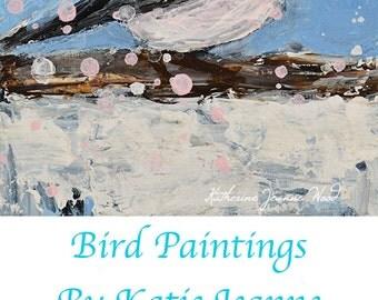 Acrylic Chickadee Bird Painting. Blue Wildlife Art. Chickadee Songbird Painting. Art By Katie Jeanne. Bird Wall Decor. 3