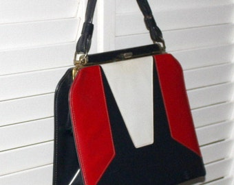 Vintage Patent Leather Kelly Bag 1950s Navy Red and White Spectator Tote Betty Paige Rockabilly Handbag