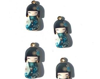 Blue Kokeshi Doll Enamel Charms, Geisha Charms, Enamel Kokeshi Dolls, Geisha Doll Charms 4 pieces