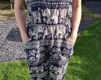 Elephant Jumpsuit Dungarees Romper Suit, One Size Petite Ankle Grazer Style, Boho Hippie Festivals Summer, Black Green Red Blue