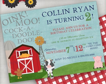 Farm Themed Birthday Invitation