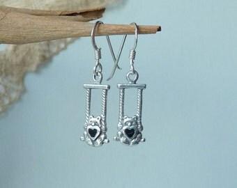 Sterling Silver Teddy Bear Earrings, Vintage  Dangle Teddy Bear Earrings, Teddy Bear with Heart Jewelry, Girls Earrings, Retro Earrings