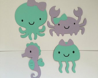 Set of 4 Under The Sea Die Cuts, Girly Under The Sea Die Cuts, Under The Sea Party Decor, Mermaid Party Decor, Crab Die Cut, Octopus Die Cut
