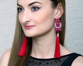 Red Tassel Earrings Silk Long Fringe Earrings Beaded Soutache Jewelry