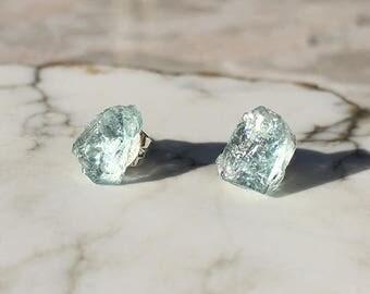 Raw Aquamarine Stud Earrings, Aquamarine Earrings, Raw Crystal Earrings, Raw Stone Earrings, March Birthstone, Birthstone Earrings