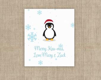 Personalized Lip Balm Labels - Penguin & Snowflakes Lip Balm Labels - 1 Sheet of 12 Lip Balm Labels - Christmas Lip Balm Labels