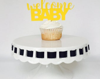 Welcome Baby Cupcake Toppers - Baby Shower - Gender Reveal - New Baby - Boy - Girl - Yellow - Pink - Blue - Party Decorations