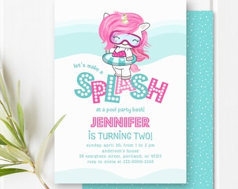 Pool Party Birthday Invitation Girl Birthday Invite Pony Unicorn Birthday Invitation Pool Birthday Party Invitation Pink And Aqua PRINTABLE