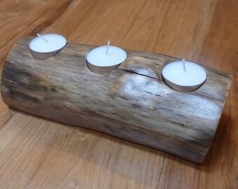 Barkless Log Tea Light Candleholder, Log Tea Light Candleholder Without Bark, Natural Log Candleholder