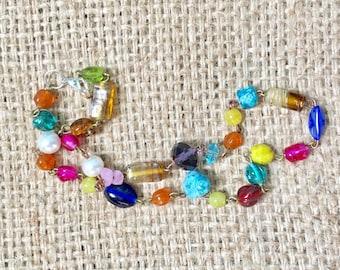 Beaded Choker, Boho Colorful Choker, Rosary Style Jewelry, Boho Glam Necklace, Boho Beaded Necklace, Beaded Necklace, Colorful Beaded Choker
