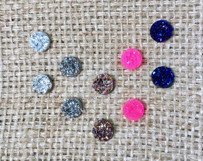 Raw Druzy Stud Pack, Raw Druzy Studs, Stud Earring Pack, Set of 5 Studs, Faux Druzy Studs, Druzy Earring Set, Druzy Stud Set of 5