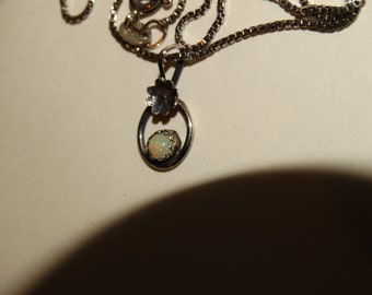 "Navajo Sterling Silver 16"" Chain with Elegant Flower and Opal Pendant."