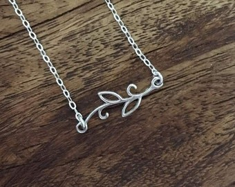 Sterling Silver Branch Connector Necklace, Minimalist Silver Necklace, Minimalist Branch Silver Necklace, Nature-inspired Necklace