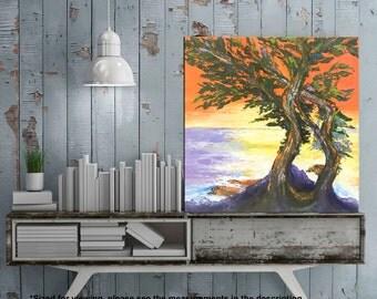 Monterey bay, California art, Cypress Lone, Landscape art, Beach painting, Ocean art, Palette knife art, Tree painting, California painting