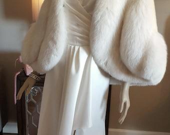 Luxury Vintage White Fox and Mink Cape - Fur Stole -Genuine Mink and Fox Fur -Bridal Fur Shawl -Wedding Shrug - Hollywood Glam - Luxury Gift