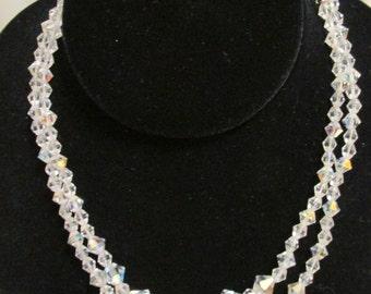 "Vintage Crystal Necklace 15 1/4"""