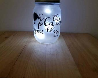 Mason Jar Night Light, Solar Powered Night Light ,Light Jar, Dr. Seuss Night Light, Dr Seuss Jar, Oh The Places You'll Go Night Light Jar