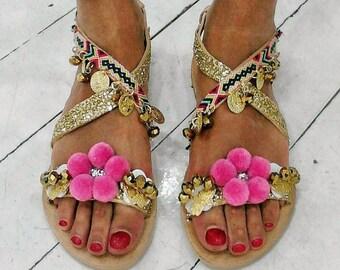 Greek sandals,pompom sandals, gypsy sandals,ethnic,friendship bracelet handmade,boho sandals,women's sandals ''HERA'',leather shoes,pink