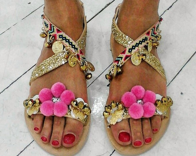 DHL FREE Greek sandals,pompom sandals,ethnic,gladiator sandals/strappy,boho sandals,women sandals ''HERA''leather shoes,pink,luxury sandals