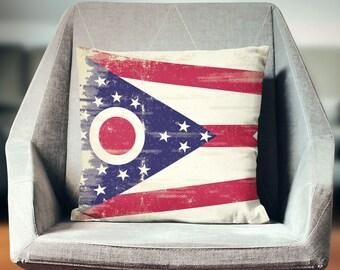 Ohio Pillow | Ohio Pillow Case | Ohio Flag | Ohio Throw Pillow | Ohio Pillow Cover | Ohio Cushion | Ohio Décor | Ohio Gifts | Ohio State