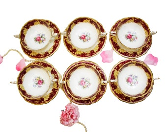 Set of 6 Red Yellow Paragon Double Handled Soup Bowls with Saucers, English Bone China Floral Soup Bowls, Formal Dinnerware