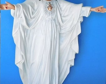 Sacred Heart of Jesus Statue, Arms Outstretched, White Robes, Detachable Hands, Plaster, Hand Painted, Jesus Christ, Statuary
