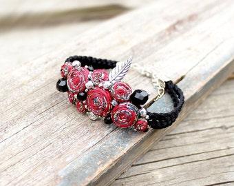 Red beaded bracelet Black bracelet charms Birthday gift ideas|for|her Cute gift for friend Red bracelet Adjustable bracelet Textile jewelry
