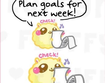 Checking Fluffymaru || Planner Stickers, Cute Stickers for Erin Condren (ECLP), Filofax, Kikki K, Etc. || SFS04