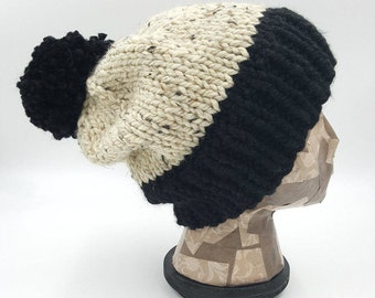 Color Block Beanie, Pom Pom Beanie, Winter Hat, Hat for Women, Hat for Men, Acrylic Hat, Wool Hat, Bobble Hat, Pom Pom Hat, Chunky Beanie
