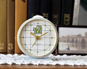 Soviet Alarm Clock - Desk Clock - Retro Clock - Gray Alarm Clock - Vintage Alarm Clock Jantar - Russian Mechanical Clock - Working Clock