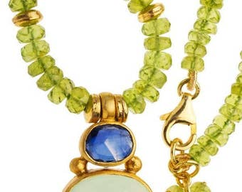 Peridot beads with Iolite and Chalcedony pendant 24K Vermeil necklace