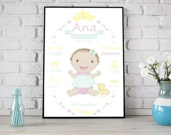 Birth Announcement Wall Art . Birth Details Print . New Baby Gift . Baptism Gift . Nursery Decor . PRINTABLE 11,7x16,5 Sign