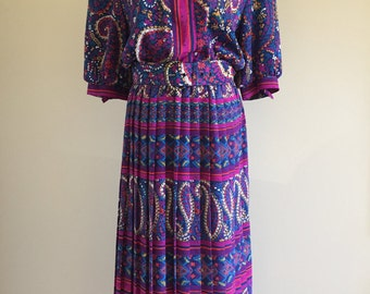 Vintage 1980s Multicolored Dress with Pleated Skirt and Belt