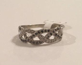 10K White Gold Black & White Diamond Braided Band Ring