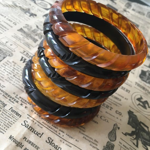 Vintage Style Jewelry, Retro Jewelry NEW!! Carved bakelite bangles - Brown & Tortoise - 1940s vintage reproduction $15.36 AT vintagedancer.com