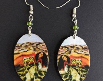 Raices Handmade Wooden Frida-Inspired Earrings from Oaxaca, Mexico