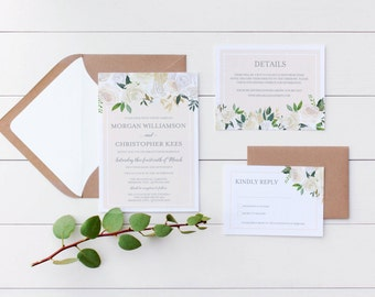 Printable Wedding Invitation // Floral Wedding Invitations // Elegant Wedding Invitation // Printable Wedding Stationery // The Riana Suite