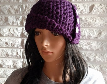 Women's flapper cloche, women's purple beanie, roll brim cloche, women's accessories, gifts for her, fall, winter and spring fashion