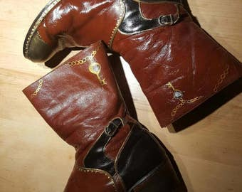 Hand painted vintage steampunk boots ,cosplay accessories,60s leather boots Size 8 men , pirate boots
