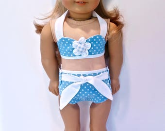 18 inch Doll Clothes. Handmade Girl Doll Clothes. 1950s 1960s Swim Suit. Doll Bathing Suit. Doll Bikini. Retro Sun Bathing Suit. Doll Halter
