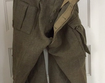 Vintage 1950's Military Style Wool Pants from Brussels, Belgium