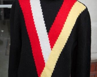 Vintage Men's Iconic Black Turtleneck Wool Sweater 1950s