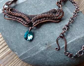 Copper Woven Necklace Swarovski Bermuda Blue Drop, Copper Necklace, Copper and Blue, Wire Weave Necklace