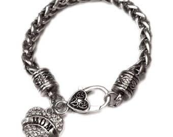 Antique Silver Mom Charm Bracelet