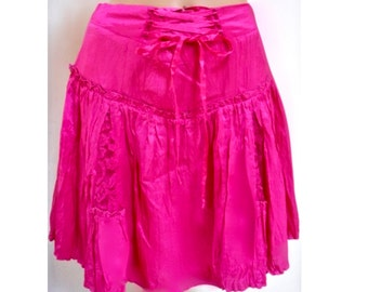 Betsey Johnson Bow Corset/Lace Hot Pink Skater Flare Skirt 8 M