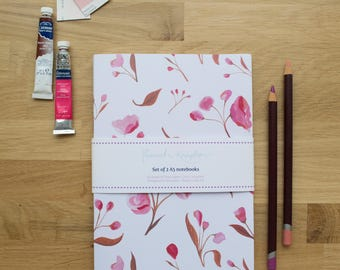 Set of 2 A5 Blossom Notebooks | Lined Pages | Recycled Paper | Designed in Yorkshire | Made in the UK