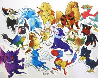 Pokemon Stickers / Magnets - Sun and Moon, Birds, Dogs